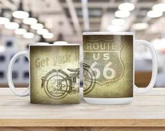 Vintage Motorcycle Route 66 Mug, Vintage Automobile Classic Cup, Great Gift Idea for Dad Brother Uncle Grandfather, Route 66 Car Classic Mug