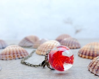 Starfish necklace, gift for woman, ocean terrarium necklace, mermaid necklace, navy necklace, red necklace, inspirational, bohemian necklace