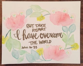 John 16:33 Take Heart I have Overcome the World Watercolor Wreath Wall Hanging Easter Decoration Sign