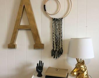 Handmade Black and White Yarn and Hoop Wall Decor