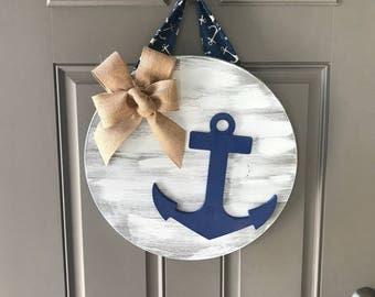 Anchor Door Hanger, Anchor Decor, Lake House Door Hanger, Nautical Decor, Beach House Decor, Anchor Wall Art, Wood Sign, Front Door Decor