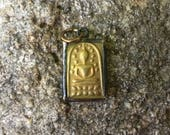 Small Brass Rustic Seated Buddha Pendant from Thailand - 7/8 Inches - 22 mm