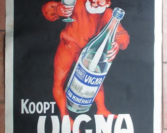 antique  paper advertising poster Belgian mineral water Vigna with dwarf