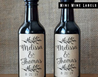 Custom Wedding Wine Labels - Wedding Wine Bottle Labels - Mini Wine Labels - Set of 10