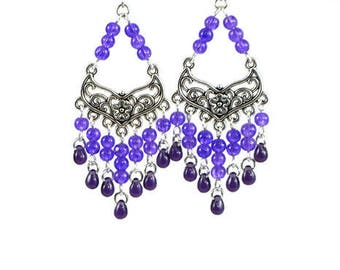 Purple Flower Chandelier Earrings, Hooks, Posts, Clip ons, Lever Backs, Wedding Anniversary Birthday Career Statement Violet