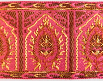 "Woven Jacquard Ribbon Trim Tape~Pink jacquard~~Pink~Yellow~1-13/16"" wide"