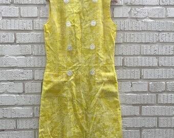 50s Yellow Floral Dress. 1950s Sleeveless Sun Dress. Medium. Large.