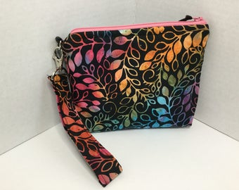 Multi color batik leaf print on a black background small wristlet- travel purse -cell phone - wristlet wallet