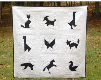 Tangram Zoo PDF Quilt Pattern - Modern Geometric Paper Pieced Quilt - Farm Animals - Sea Creatures - Birds and More! - Baby and Throw Sizes