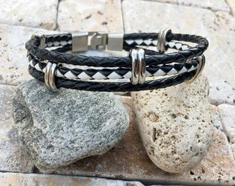 Black and White Braided Bolo Leather Bracelet With Interlocking Clasp, Leather Bracelet Men, Men's Gift, Gifts Under 20, CS-13