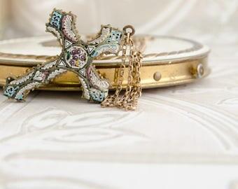Italian Mosaic Cross - 1920s Necklace - Vintage Necklace For Bride - Souvenir From Rome - Antique Pendant - Downton Abbey - Venetian Glass