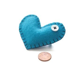 Felt Heart Pin: heart accessory | felt heart | friendship gift | lapel pin | heart button