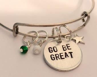 """Dreamworks Voltron Legendary Defender Inspired Hand-Stamped Bangle Bracelet: """"Go Be Great"""""""