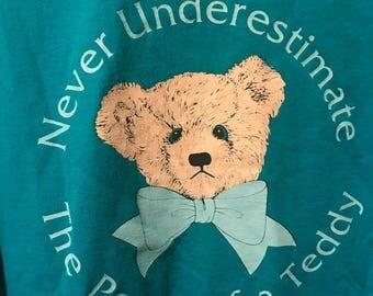 Teddybear Power Ironic 90s Tee 1991 Blue XL T-Shirt Bow Teddy Collectors
