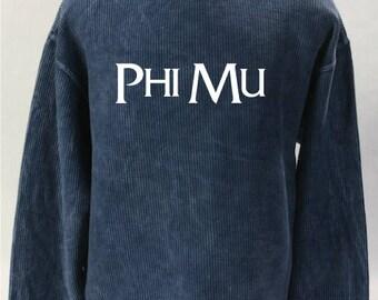 Phi Mu Corded Sweatshirt