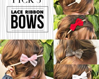 Pick 3• Lace Ribbon bow set, baby headband set, nylon headbands, small bows, baby bows, newborn headbands, baby hair bows, nylon baby bow