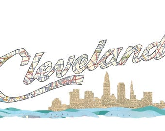 Cleveland Script Skyline Cleveland Map Lake Erie Prints Note Cards