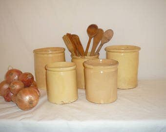Antique French pottery , Confit or Marmalade Confiture Pot Terracotta Yellow Glazed - End of 1800s Jam Jar Storage Jars Ref A