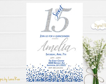 Quinceanera Invitation, Sweet 15 Birthday Party, Quinceanera Party Invitation , Sweet 15 Birthday Party, quince invitations - DIGITAL FILE