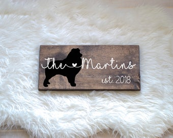 Last Name Wood Sign with Australian Shepherd Silhouette Wedding Signs, Last Name, Wedding Gift, Dog Wedding Gift, Anniversary Gift, Entryway