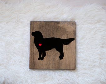 Hand Painted Golden Retriever Silhouette with Heart and Name on Stained Wood, Golden Retriever Artwork, Golden Retriever Portrait