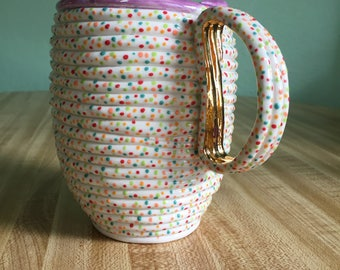 16oz+ Purple Confetti mug with pearl rim and large 22k gold handle