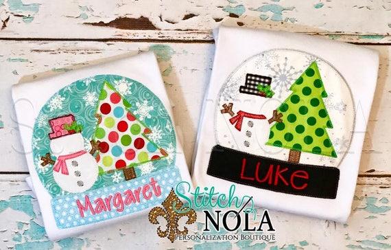 Mrs Snow Globe Applique, Snow Globe Applique, Snow Globe, Christmas Applique, Snowman, Christmas Tree Applique, XMAS Shirt, Christmas