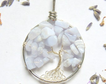 Blue Lace Agate Baby Boy Shower Tree of Life Pendant