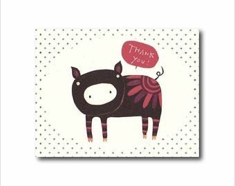 Pig thank you card, Animal thank you note, Black pig art card