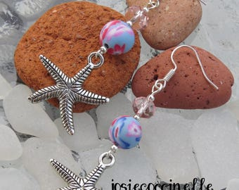 Silver starfish and fimo floral by JosieCoccinelle