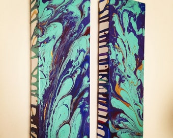 "Custom Colors 4"" x 12"" Fluid Acrylic Paintings (Set of 2)"