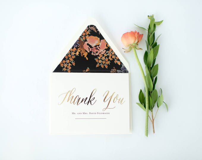 gold foil personalized  thank you cards +  lined envelopes (set of 10) // wedding thank you card // lola louie paperie