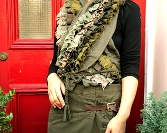Mixed olive coloured ruffle (frill) scarf