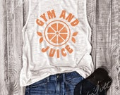 GYM AND JUICE... White/Orange Workout Top,Graphic Muscle Tee, Funny Shirt,Workout Tank,Yoga Top, Retro, Vintage, 80s, 90s, 70s