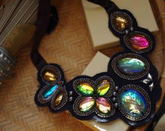 Hazy Rainbow Iridescent 3D statement necklace