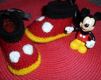 """Mickey"" (0-3 months) wool baby shoes"