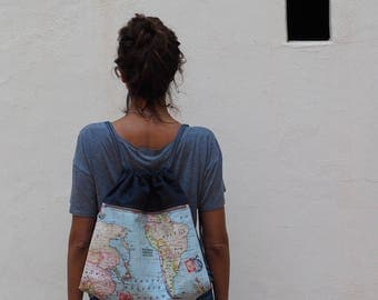 Drawstring backpack, world map canvas, canvas backpack, travel bag, travel map, denim bag, travelers gift, hipster bag, world map, rucksack