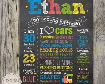Second Birthday Chalkboard Sign - Little men 2nd birthday - vehicle train - chalk board poster photo prop - DIGITAL FILE!