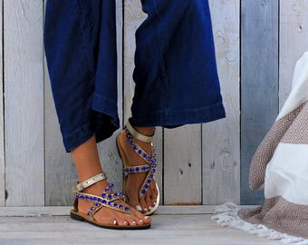 "Leather sandals, genuine Greek leather sandals, Luxury sandals, Gold Blue sandals, ""Aqua"" sandals"
