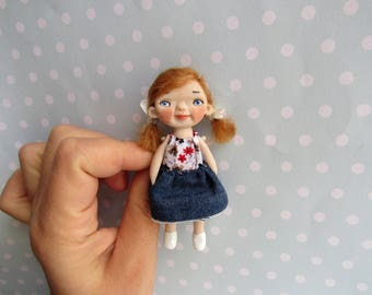 Doll Brooch. OOAK Art Doll Handsculpt Polymer Clay artist doll