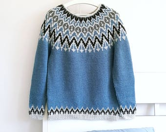 Blue Icelandic Sweater | Nordic Design | Womens Lopapeysa | Hand Knit Yoke Sweater | Chunky Knit Sweater | Womens Clothing | Gift For Her