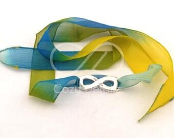 infinity wrap bracelet, boho bracelet, boho wrap silk bracelet, silk ribbon, boho jewelry, gipsy bracelet, gifts for her, choose ribbon
