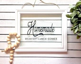 Homemade  Breakfast, Lunch, Dinner Framed Glass Sign, Vinyl Glass Frame Sign, Kitchen Decor, Hanging Glass Sign, Glass Sign, Farmhouse Sign