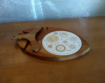 RARE Fred Press / Sere Wood Cheese Tray with Nesting Bow Wire Slicer — c1960s