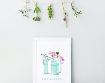 Tiffany & Co Blue Box. Fashion Print. Fashion illustration. Watercolor artwork. Fashion Illustration. Modern Home Décor.