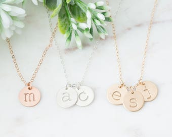 Personalized Family Initial Necklace, 1, 2, 3 Initial Letter Disc Necklace, Multiple Discs, Gift for Mom with Children Kids Names, Rose Gold