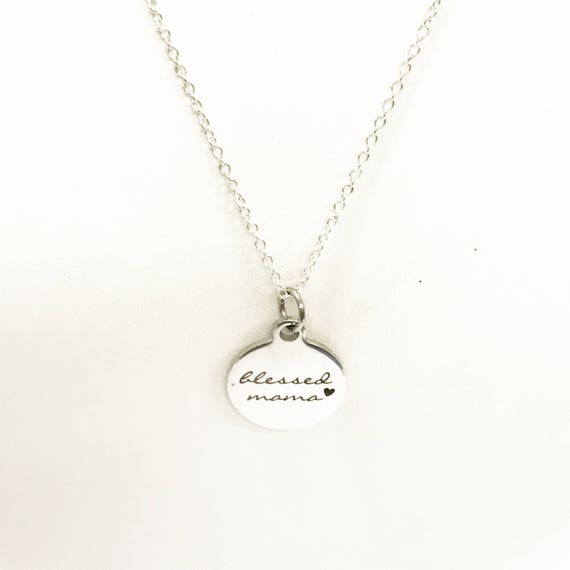 Blessed Mama Necklace, Gift For Mom, Mama Jewelry, Mama Gift, Mother Gift, New Mom Gift, New Mama, Gift From Kids, Stainless Necklace