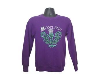 90s SCOTLAND SWEATSHIRT Size Small Purple Womens Scottish Thistle Plant Crewneck Country Tourist UK United Kingdom xs