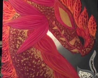 Orchid Dragon//Orchid//Fantasy Creature//Flower Dragon//Plants//Fantasy Decor//Fantasy Painting//