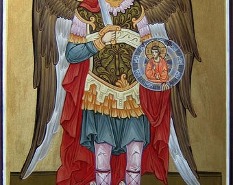 Saint Archangel Michael, Hand painted orthodox icon, Byzantine orthodox icon, Orthodox art, Made to order